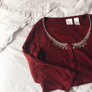 EMMA JAMES beaded burgundy lightweight sweater